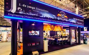 J. de Jonge liet ons standbouwbedrijf een stand bouwen voor videopresentaties
